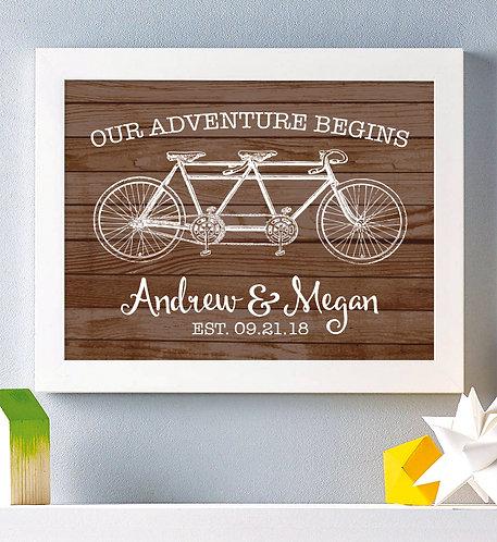 our adventure begins rustic wood print