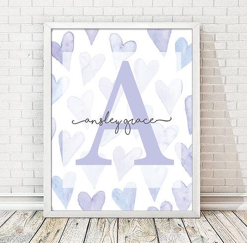 Purple Hearts Monogram Print, Front View