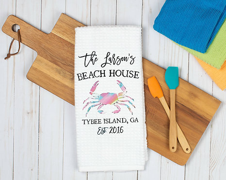 Personalized Beach House Kitchen Dish Towel