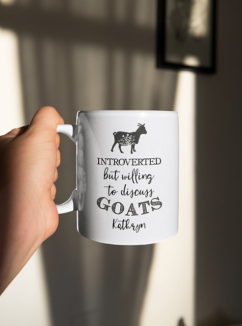 Personalized Introverted But Willing To Discuss Goats Mug