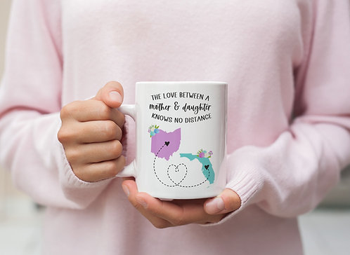 Two State Mother Daughter Floral Coffee Mug