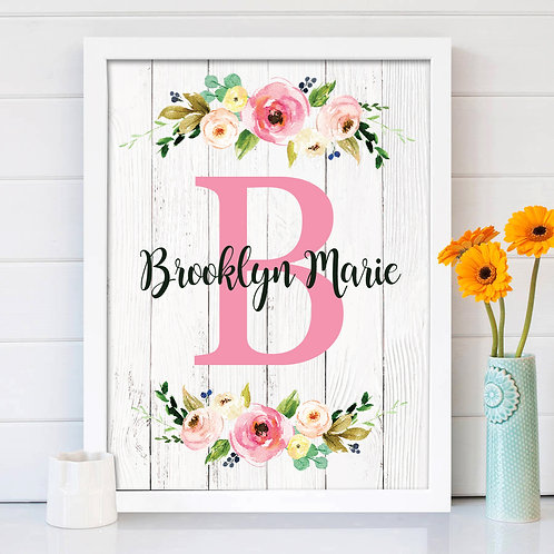 Personalized Monogram Print for a Girls Room