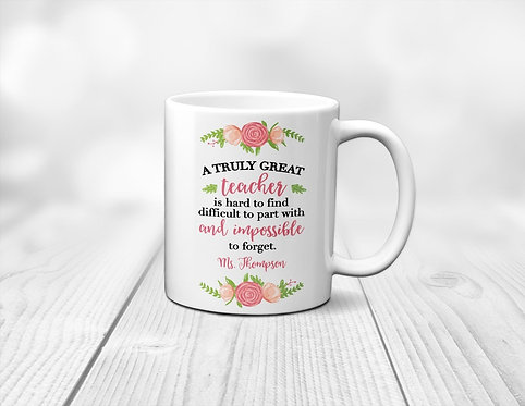 Floral Sweet Personalized Teacher Appreciation Mug