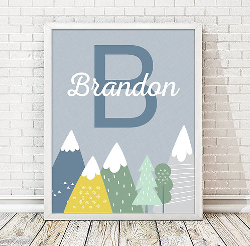Personalized Blue Monogram Mountain Print