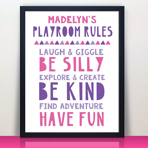Personalized Pink and Purple Play Room Rules Print