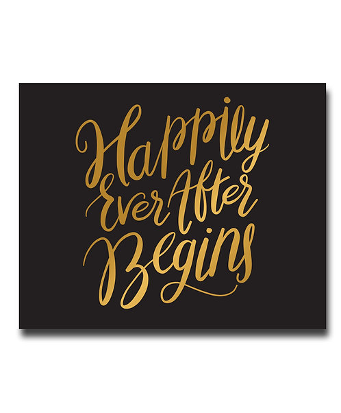 Happily Ever After Begins Wedding Print