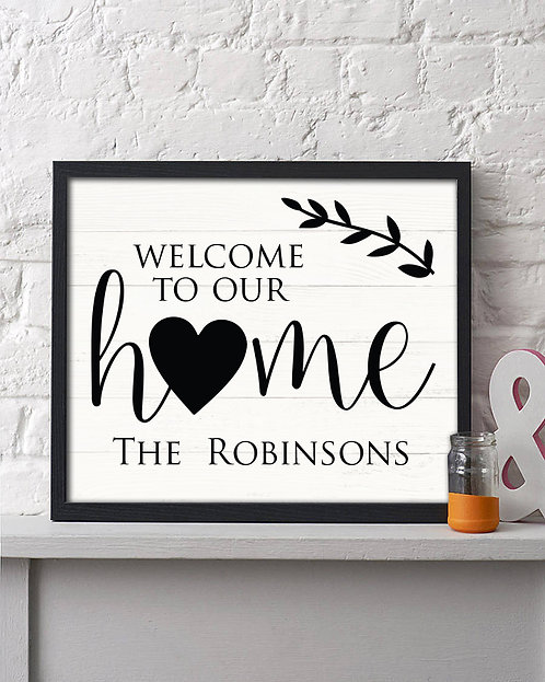 personalized welcome to our home print