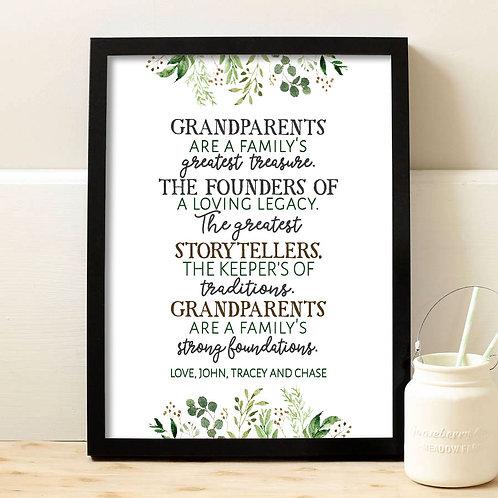 Message for Grandparents, Appreciation Gift for grandparents