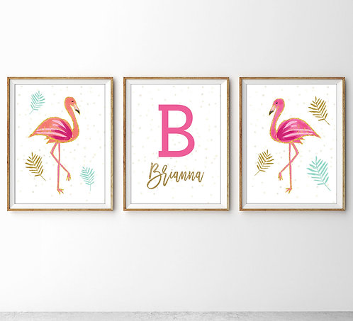 personalized flamingo monogram set of three print