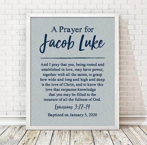 blue prayer print for boys room