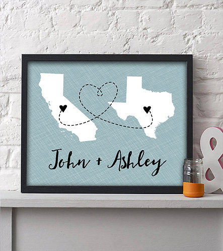 Blue Personalized Two State Print that is perfect for long distance couples