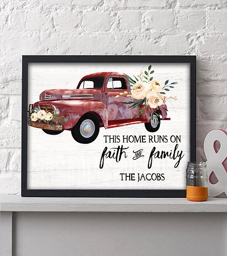 rustic home print with red truck