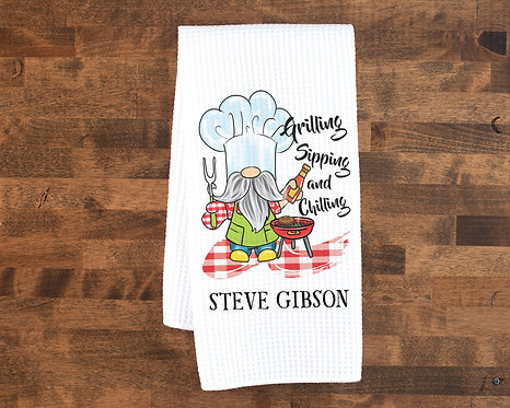 personalized grilling sipping and chilling towel