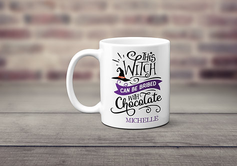 Witch can be bribed with chocolate purple with witch hat mug