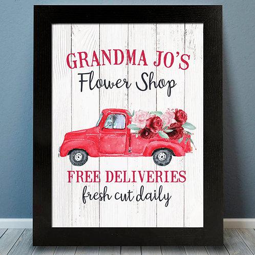 Flower Truck Shiplap Print