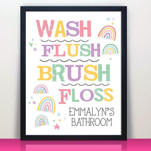 Rainbow bathroom kids print