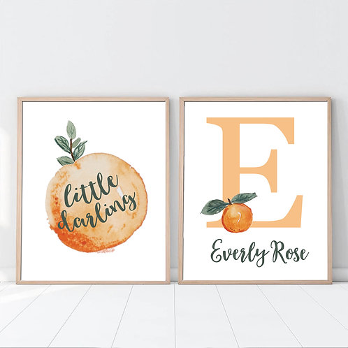 oranges monogram print set of 2
