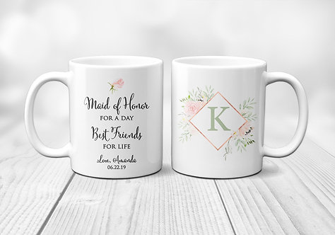 floral maid of honor for the day mug