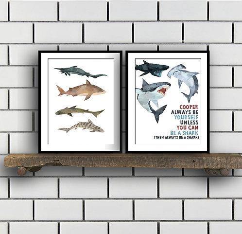 shark decor prints for boys bedroom