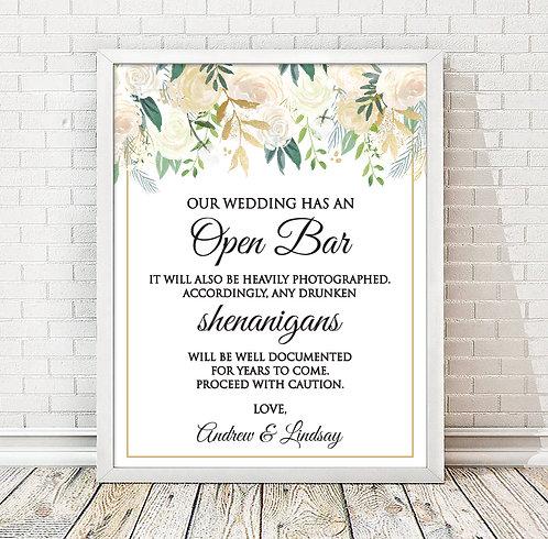 Floral open bar comedy wedding print