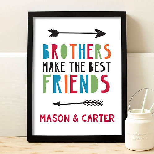 rainbow font and arrows brothers photo print
