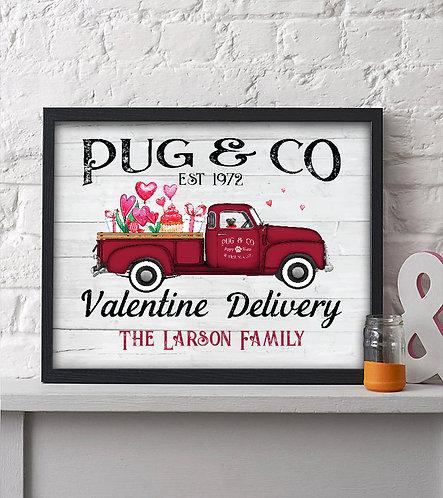Pug Valentines Day Print