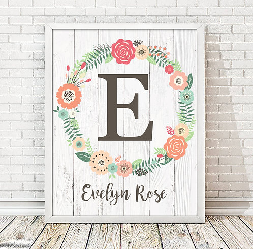 Floral Wreath Monogram Name Print for Girls