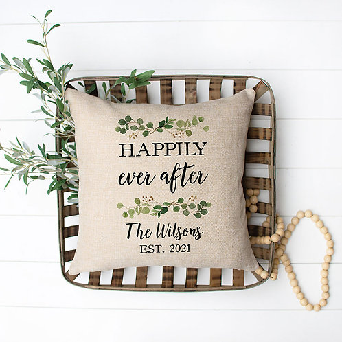 personalized happily ever after burlap pillow