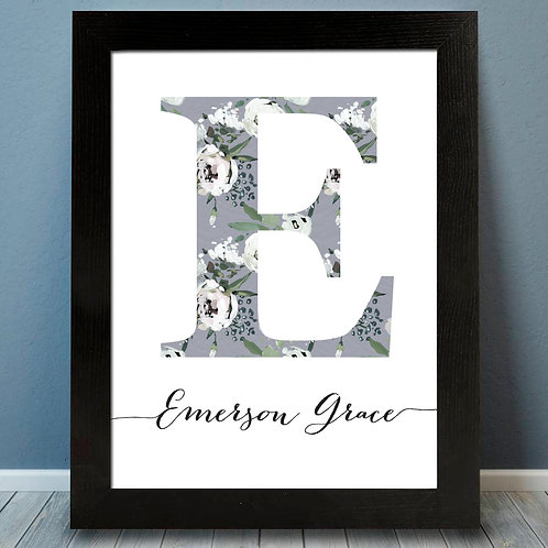 Personalized Gray Floral Monogram Print