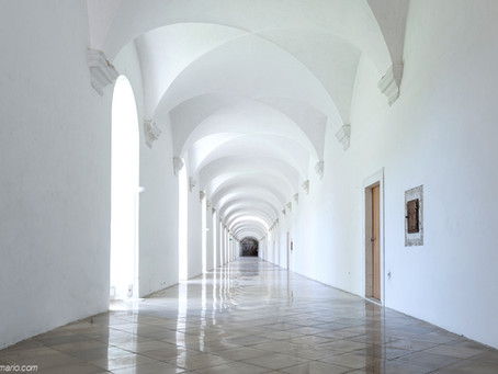 the long and wide white cloister