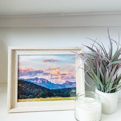 """Mountain sunrise framed print 8x10"""""""