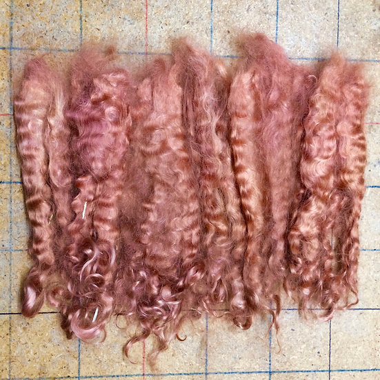 Unprocessed Mohair ~ Washed ~ Peach Pink ~ 1 oz. ~ 8""