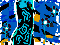 femme 2 bleue huile