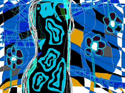 femme 2 bleue