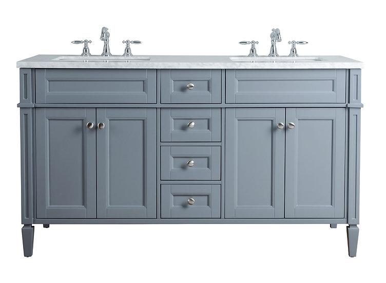 "Anastasia French 60"" Grey Double Sink Vanity"