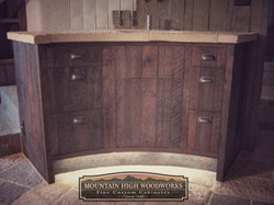 Rustic Curved Vanity Cabinets