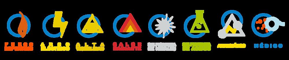 Iconos de Riesgos industriales como Fuego Repentino, Arco Eléctrico y Alta Visibilidad de la marca Texin