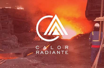 Caldera industrial gigante emanando y salpicando materia roja de alta temperatura con símbolo blanco de círculo y triángulos con la leyenda calor radiante.