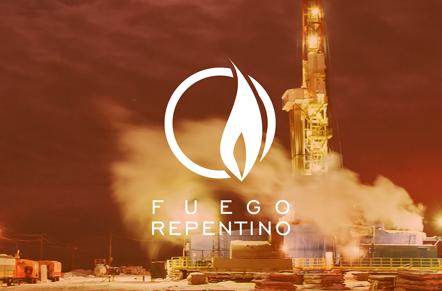 Torre de extracción petrolera con símbolo blanco de círculo y una flama con la leyenda fuego repentino.