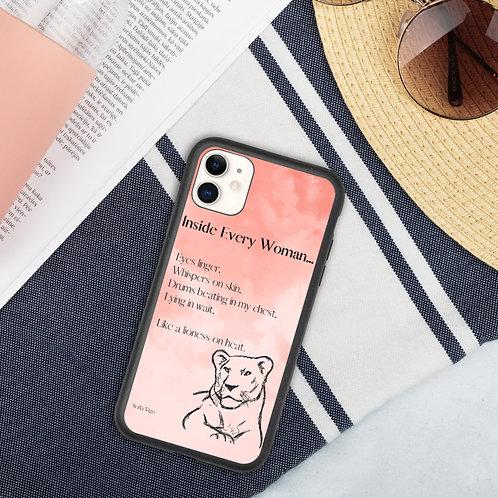 Biodegradable lioness poem phone case