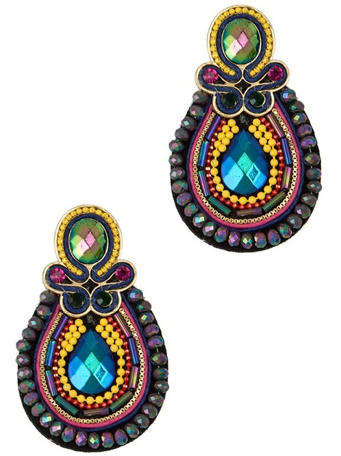 Beads Pave Ornate Stud  Earring
