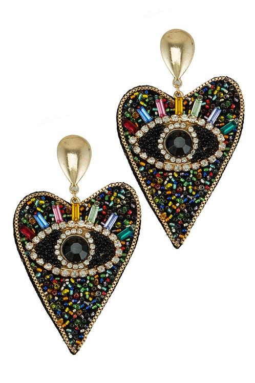 Heart Multi Color Beaded Evil Eye Earring