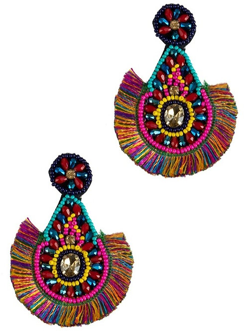 Glass Beaded Teardrop Earring with Tassel