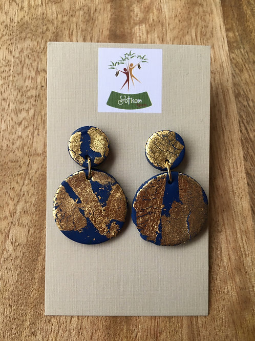 Gold leaf and midnight blue earrings