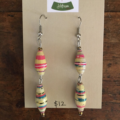 Ugandan made paper bead drop down earrings
