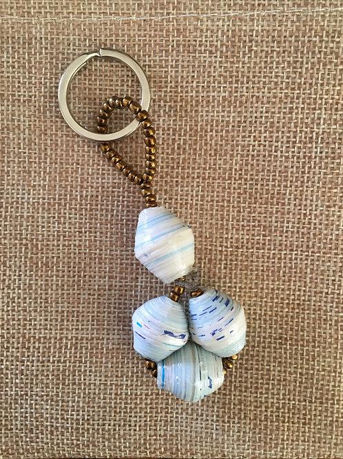 Ugandan paper bead key ring