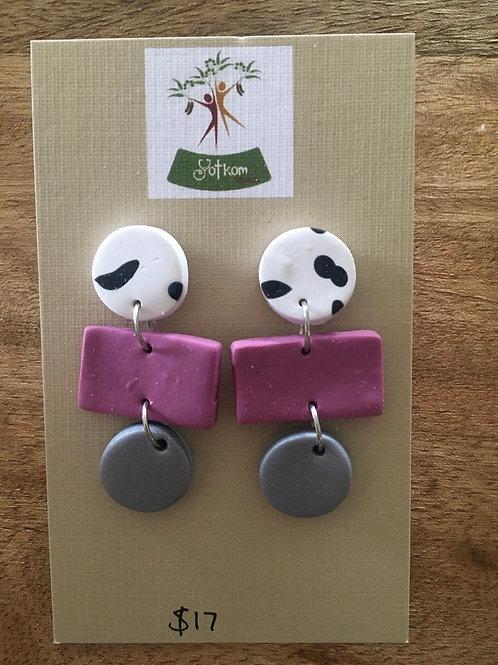 Polymer clay drop down earrings