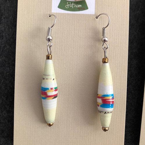 Paper bead dangly earrings