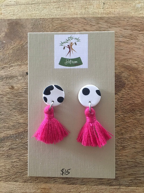 Polymer clay with tassels earrings