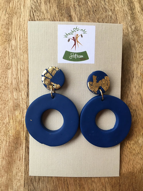 Midnight blue and gold leaf hoop earrings